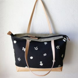 Leather Bottom Zip Tote