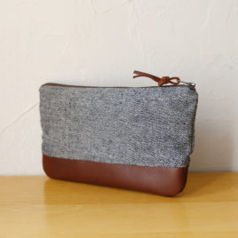– SALE ITEM: Hemp Canvas + Leather Pouch