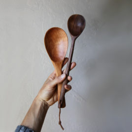 Hand carved black walnut spoon