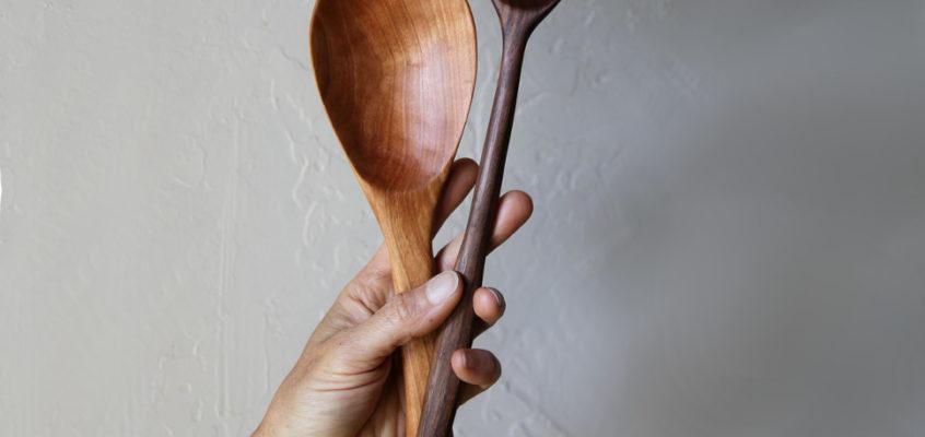 Hand carved black walnut spoon